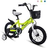 Bicicletas para niños, Bicicleta para niños 12 '14' Chico Amortiguador Amortiguador Bicicleta Chica Bicicleta Aprendizaje Auxiliar Balance Bicicleta Montaña (Color: Verde, Tamaño: 14 pulgadas)
