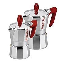 pedrini w1273 set caffettiere, alluminio, rosso, 1+3 tazze, 2 unità