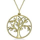 Collar colgante de oro amarillo de 18 k de árbol de la vida, collar de árbol de damas de honor, collar de árbol delicado