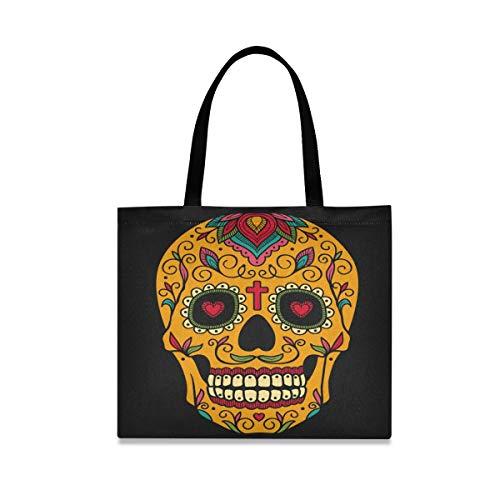 DOSHINE Tragetasche aus Leinen, mexikanisches Halloween-Blumen-Zucker-Totenkopf, wiederverwendbar, Einkaufs-, Lebensmittel-, Schulranz-, Handtasche für Frauen und Mädchen