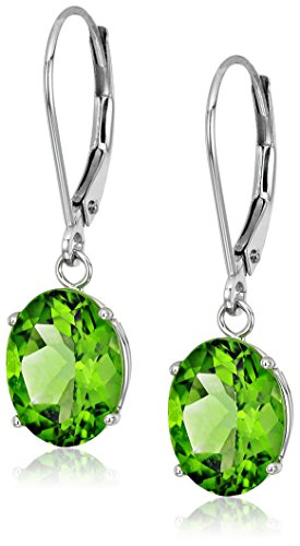 Sterling Silver Oval Peridot Dangle Earrings
