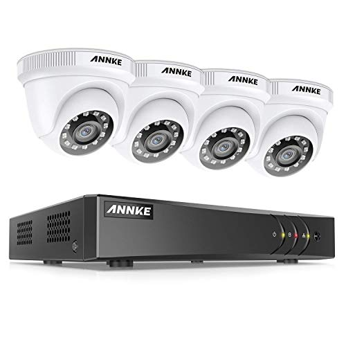 ANNKE Kit Sistema de Seguridad CCTV Cámara de vigilancia 4CH 3MP H.265+ DVR con 4 Cámaras 1080P IP66 Impermeable Visión...
