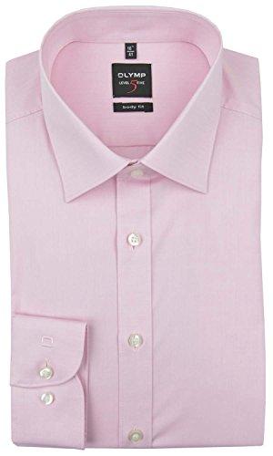 Olymp Herren Hemd Level 5 Body Fit Langarm, 40, Farbe Rosa