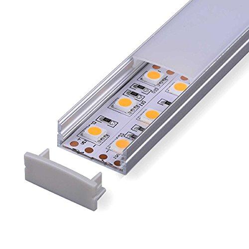2m Aluprofil CARDA (CR) 2 Meter Aluminium Profil-Leiste eloxiert für LED Streifen - Set inkl Abdeckung-Schiene milchig-weiß (opal) mit Montage-Klammern und Endkappen (2 Meter milchig click)