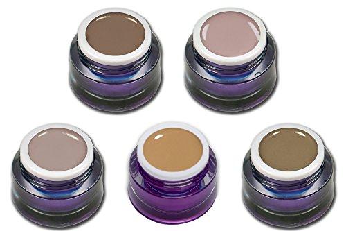 Premium Nude Farbgel Set 5 x 5 ml Trend couleurs Nail Art Design Set économique RM Beautynails