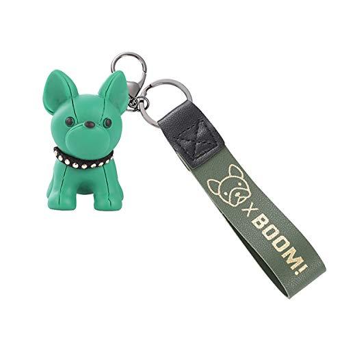 French Bulldog Rubber Keychain, Car Key Chain Keychain Accessories Purse Hand bag Backpack Charm Gift for Women, Kids (Green)