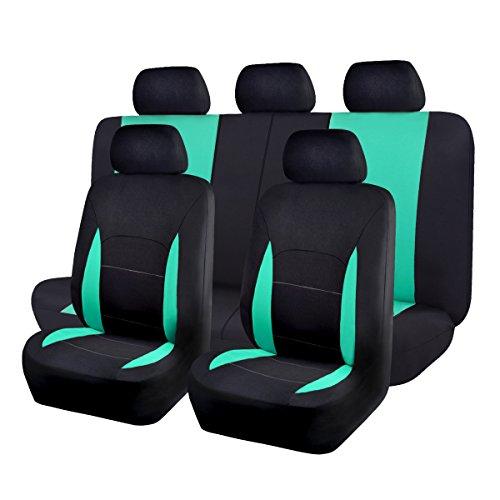 Flying Banner Sitzbezüge Auto Universal Set mit Airbag (Vollständige Reihe(11pcs), Grüne und Schwarz)