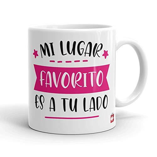 Kembilove Taza Desayuno para Parejas – Tazas Originales con Mensaje Mi lugar favorito es tu a tu lado color rosa – Taza de Café y Té para Madres – Tazas de Regalo para el día de San Valentín