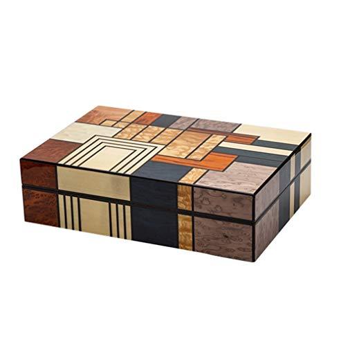 GFFTYX Humidor de escritorio para cigarros Humo de cigarros - Caja de cigarros Forro de madera de cedro Aspecto de la moda Parquet con patrón de madera Se pueden colocar 25 cigarros con higrómetro Tam