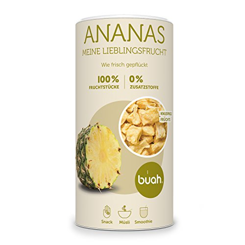 BUAH® Ananas gefriergetrocknet I getrocknete Ananas ohne Zucker I 100% gefriergetrocknet Früchte (Vegan Glutenfrei Laktosefrei) Getrocknete Früchte in DE hergestellt (168g)