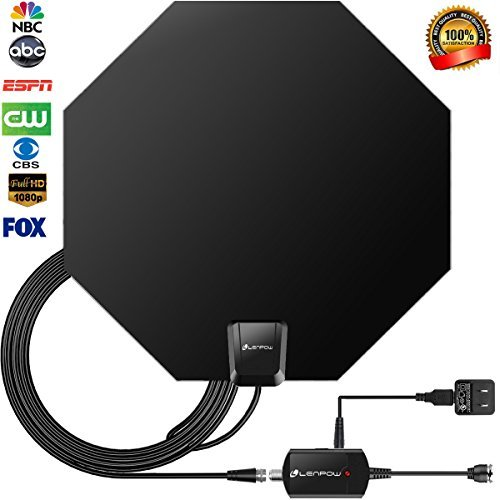 TV Antenna, LENPOW Best Indoor 1080P Amplified Digital TV Antenna 60 Mile Range with Detachable Amplifier Signal Booster, USB Power Supply, 16.5Ft High Performance Coaxial Cable, Black