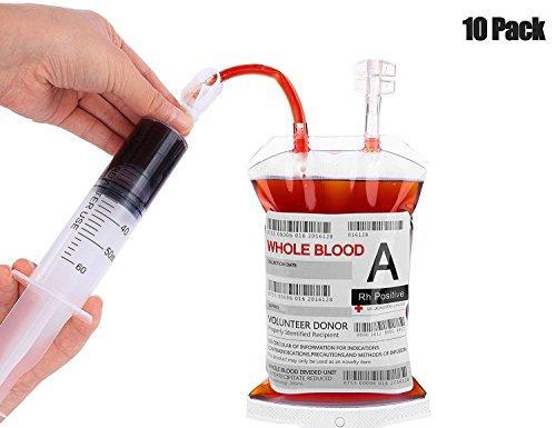 Kyerivs 10 Stück Blutbeutel Zum Befüllen Blutbeutel IV Taschen Getränkebehälter mit Clips, Blutart Aufkleber und 1 Stück Fast Füllen Spritze für Halloween Cosplay Zombie Party