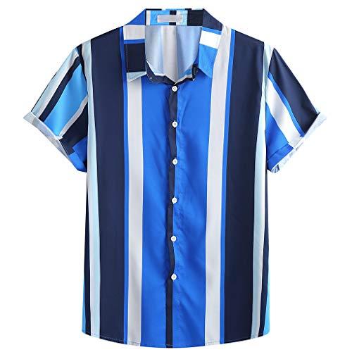 Xmiral Camicia Uomo Slim Fit Camicia Hawaiana Uomo Uomo Button Down Shortsleeve Uomo Camicie Uomo Maniche Corte Camicia Jeans Uomo (L,11Blu)