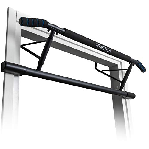 Fitnetica Pull Up Bar - Doorway Chin Up Bar, Multi Gym Home Workout Equipment, Ergonomic Angled Grip, No Assembly Required, Folding Storage Design