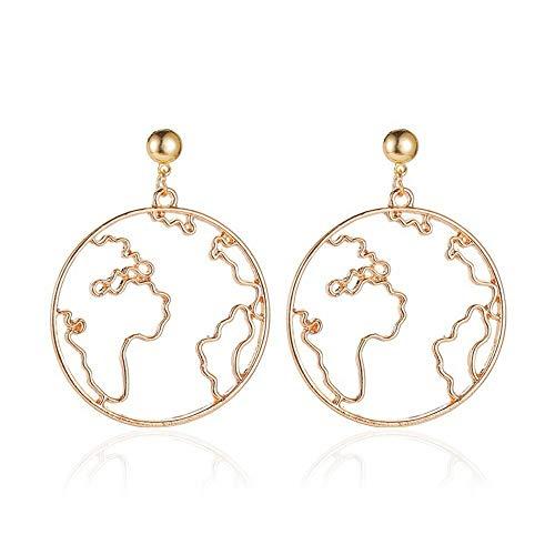 Pendientes coreanos par pendientes pendientes pendientes del mundo mapa simple señora oro lindo pendientes para las mujeres