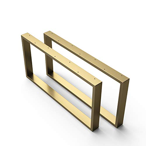 sossai - Estructura para la mesa de la sala | CKK1 | 2 Piezas | Ancho 80 cm x Altura 40 cm | Color: Oro | Material: Acero | patas de mesa | carga pesada