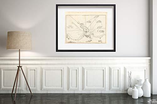Map|American Coast Pilot, Vera Cruz 1815 Topographic|Vintage Fine Art Reproduction|Size: 18x24|Ready to Frame