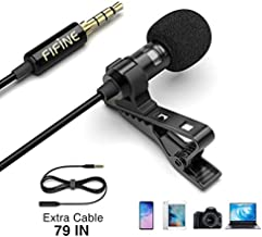 Lavalier Lapel Microphone, Mini Condenser Mic for Recording YouTube Video Conference Interview Podcast, External Mic for iPhone Android Phone DSLR Camera PC Computer, Noise Reduction, Fifine C1