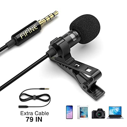 Fifine Lavalier Lapel Microphone, Mini Condenser Mic for Recording YouTube Video Conference Interview Podcast, External Mic for iPhone Android Phone DSLR Camera PC Computer, Noise Reduction, C1