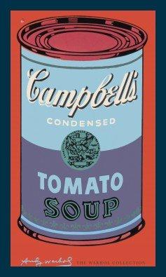 Bild mit Rahmen Andy Warhol - Campbell's Soup - Holz blau, 60 x 100cm - Premiumqualität - Klassische Moderne, Amerikanische Kunst, Pop Art, Suppen, Dosen, Tomatensuppe, Wohnzimmer - MADE IN GERMANY - ART-GALERIE-SHOPde