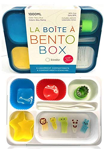 Bento Box with Accessories for Kids, Leakproof Lunch-Boxes Container Set with Food Picks, Silicone Cups, Stainless Steel Vegetable Cutter and Cutlery Accesories. Kit for Boys Girls Toddlers. Navy Blue