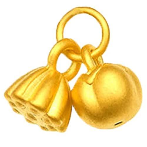 GQGQ Oro Real De 24 Quilates Mujeres Loto Colgante Collar Joyas, Regalos De Joyería Fina (Color : Pendant, Tamaño : 925 Silver Chain)