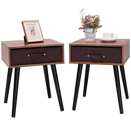 IWELL Mid-Century Nightstand Set of 2, End Table with Drawer, Wood Bedside Table Side Table for Bedroom, Rustic Brown