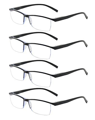ALWAYSUV 4er Pack Lesebrille für Männer Blaulicht blockierende Lesebrille Reduziert Augenschmerzen Kopfschmerzen Besserer Schlaf für Männer / Frauen Klare Linsen-Lesebrille 1.75