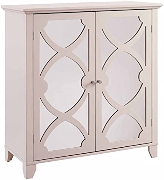 Riverbay Furniture Large Cabinet With Mirror Door In Cream