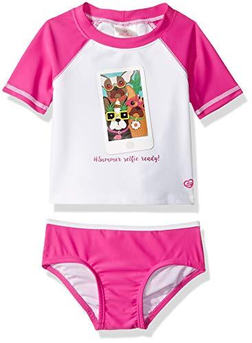 Skechers Girls' Swim Suit Bathingsuit Set with Rashguard, Insta Frenchie, 12 Months