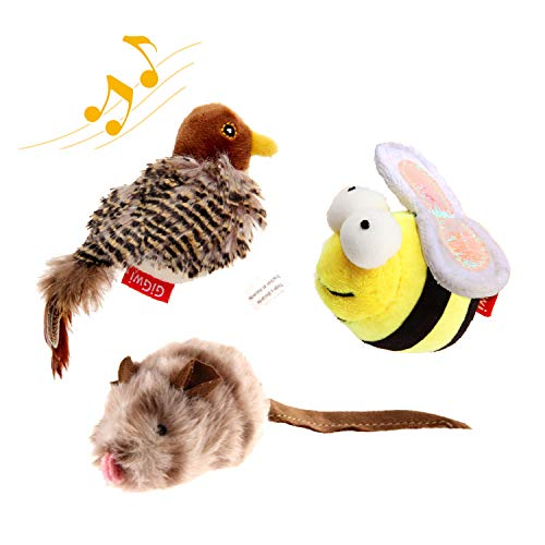 Gigwi Interactive Cat Toys Animal Sound Bird/Mouse/Bee Interactive Squeaking Cat Toys Melody Chaser & Toys for Cats to Play Alone, Play and Squeak Kitten Toys for Boredom