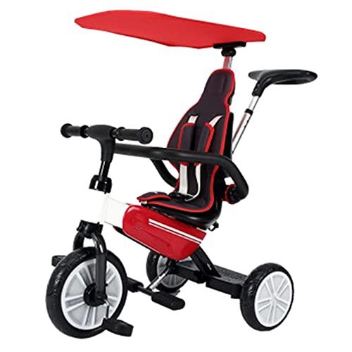 GUORZOM Pieghevole Tricicli, Push Ride-On Triciclo Bimba e Bimbo, Balance Bike Insieme a Maniglia di Spinta, Passeggino Triciclo per Bambini Piccoli età 10 Mesi - 5 Anni,Rosso