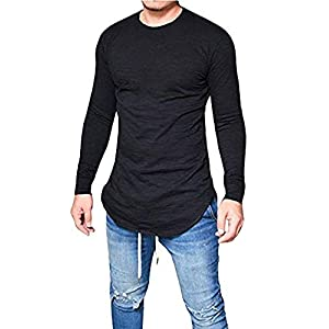 Men's Long Sleeve T-Shirts Hippie Solid Slim Basic Stretchy Long Line Tee Tops