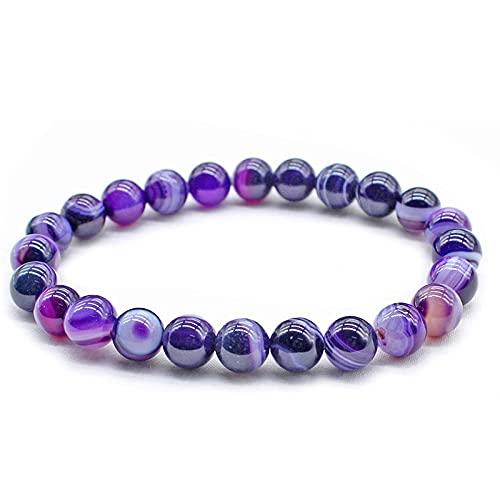 Natural Stone Bead Purple Dream Line Bracelet Stripe Bracelet Ladies Men's Religious Jewelry Beads 6mm