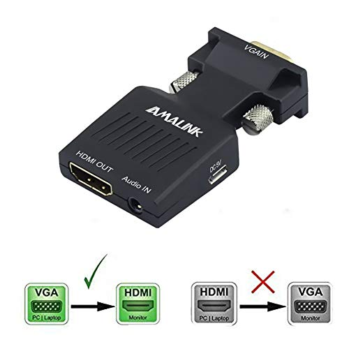 VGA to HDMI Adapter, AMALINK Stereo R/L Channel 5V1A VGA + Audio to HD Converter for HDTV, VGA Male to HDMI Female