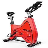 YourBooy Bicicleta estática Profesional para Interiores, frecuencia cardíaca inalámbrica Bluetooth interactiva en Vivo, Volante Cromado, Sistema de transmisión por Correa Ultra silencioso,Rojo