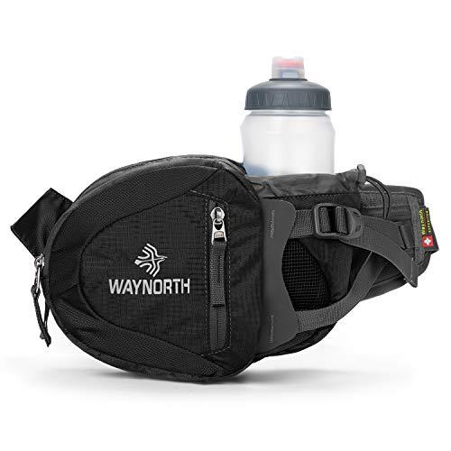 Waynorth Riñonera Running Deportiva con Portabotellas Hombre Mujer Impermeable Bolso de Cintura para Correr Senderismo