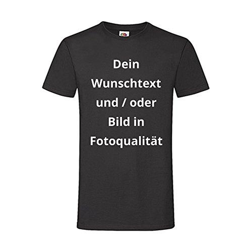 Männer T-Shirt Bedrucken - Text und Bild individuell auf Ihr T-Shirt Drucken Lassen | Personalisiert Farbe Schwarz, Größe L