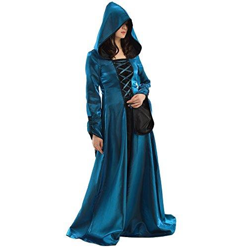 BLESSUME Gothic Damen Mittelalterlich Renaissance Mit Kapuze Kleid Rock (Blau, XL)