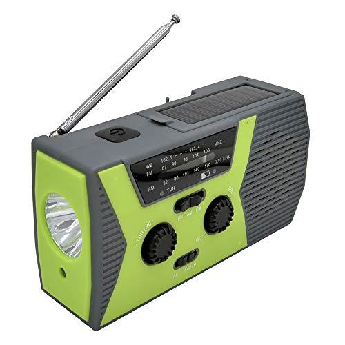 duoying Radio, radio meteorológica con linterna de 1 W, portátil, 2000 mAh, linterna LED, linterna brillante y lámpara de lectura para emergencia doméstica y Outdoo