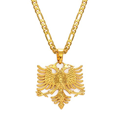 TUDUDU Albanien Adler Anhänger Halsketten Für Männer Frauen Gold Farbe Albanischer Schmuck Ethnische Geschenke Kosovo Länge 60 cm X 3 Mm