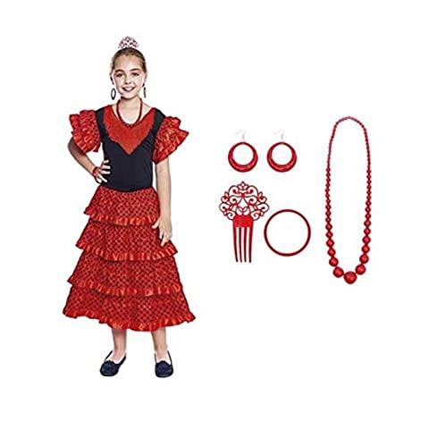 Vestido Sevillanas Niña con Accesorios Flamenca Peineta Collar Pulsera Pendientes Rojo【Tallas Infantiles de 1 a 15 años】[5-6 años] Disfraz Sevillana Traje Flamenca Volantes Feria Abril Sevilla Baile