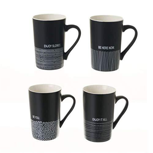 Tazas Mug de Desayuno Tazas para Café con Frases Personalizadas Pack4 Color Negro Set con Medidas 8 X 6,70 X 12 CM