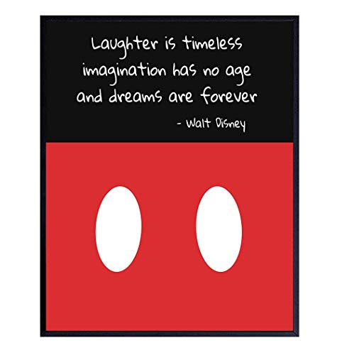 Walt Disney Quote, Inspirational Saying on Mickey Mouse Art - 8x10 Wall Decor, Decoration for Men, Women, Boys, Girls, Kids Bedroom, Living Room, Office, Bathroom - Gift for Disney World Fans