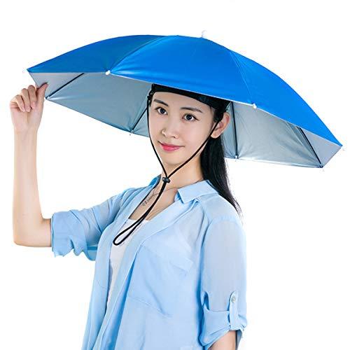 Haokaini Kopf Regenschirm Hut Regenbogen Angeln Regenschirm Hut Hände Frei im Freien Sonne Regenschutz Angelkappe Strand Regenschirm für Erwachsene Garten Camping Party