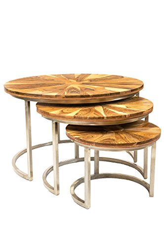 Maades salontafel 3-delige set salontafel rond modern van teakhout ø 60 cm | Marokkaanse ronde vintage tafel van teak voor uw woonkamer | modern design salontafel in hoogglans - Venice ø 80 cm