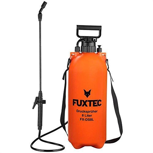 Fuxtec - Pulverizador a presión FX-DS8L, para todos los trabajos en el jardín, de fertilización y con pesticidas, tanque de 8litros con correa, peso ligero de 1,76kg, presión operativa de 2,5bares