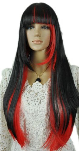 Qiyun Longue Raide Noir Rouge Mixte Multicolore Complete Frange Cheveux Cosplay Anime Costume Perruque