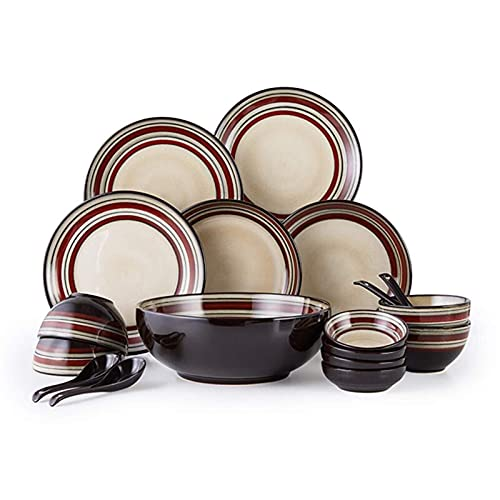 YANJ Juego de vajilla de cerámica con 18 Piezas, Cuenco/Plato/Cuchara | Juegos de vajilla, Juego Combinado de Porcelana glaseada para Horno, Platos Negros