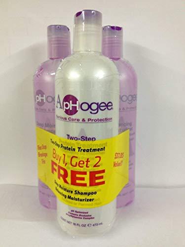 Aphogee Two-Step Protein Treatment, Balancing Moisturizer, Deep Moisture Shampoo Stop Breakage Trio All 16 OZ by Aphogee